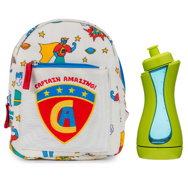 Mini Rucksack Captain Amazing by Pink Lining with FREE drinking bottle iiamo sport in green