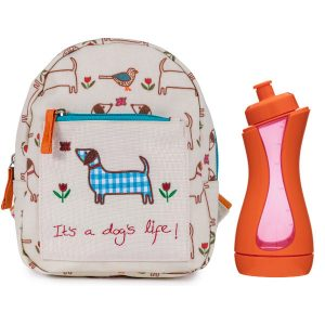 Pink Lining Mini Rucksack It's a Dogs Life mit GRATIS iiamo sport Trinkflasche in orange