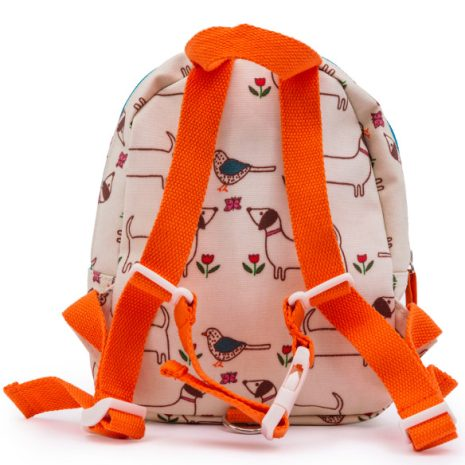 backside of Pink Lining mini rucksack it's a dog's life
