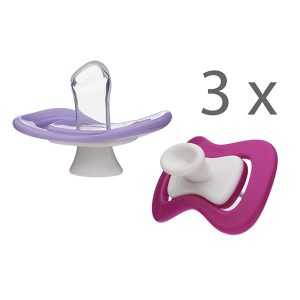 iiamo peace pacifiers 3-pack with 6 soothers in pink and purple